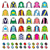 jockey uniform   jackets silks and hats horse riding icons set stock photo © redkoala