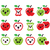 cute red apple and green apple kawaii icons set stock photo © redkoala