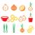 kleurrijk · iconen · fast · food · maaltijden · geïsoleerd · voedsel - stockfoto © redkoala