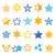 stars gold and blue vector icons stock photo © redkoala