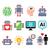 mesterséges · intelligencia · robot · ikon · szett · vektor · modern · technológia - stock fotó © redkoala
