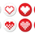 pixeleted red heart icons set   love dating online concept stock photo © redkoala