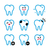 tooth teeth vector icons set in color stock photo © redkoala