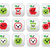 cute red apple and green apple kawaii buttons set stock photo © redkoala