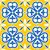 spanish tiles pattern moroccan and portuguese tile seamless design in navy blue and yellow stock photo © redkoala