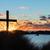 湖 · ビーチ · 日没 · クロス · 黒 · 砂丘 - ストックフォト © rghenry