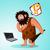 caveman found a laptop stock photo © riedjal
