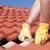 trabajador · techo · cuadros · casa · reparación - foto stock © roboriginal