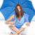 verwonderd · rijpe · vrouw · Blauw · paraplu · strand · portret - stockfoto © roboriginal