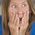 angstig · bezorgd · vrouw · ontdaan · geïsoleerd · witte - stockfoto © roboriginal