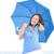 grappig · aantrekkelijk · rijpe · vrouw · Blauw · paraplu · portret - stockfoto © roboriginal