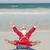 gelukkig · kerstman · strandvakantie · vergadering · handen · omhoog · strand - stockfoto © roboriginal