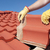 construction worker tile house roofing repair stock photo © roboriginal