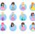 beautiful cartoon princesses flat vector icons set stock photo © robuart
