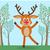 cute deer in forest cartoon flat vector stock photo © robuart