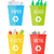 set of recycle garbage bins waste recycling stock photo © robuart