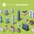 ayarlamak · modern · izometrik · binalar · gökdelenler · vektör - stok fotoğraf © robuart