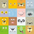 set of animal faces flat style vector illustration stock photo © robuart
