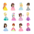 set of princesses in evening gowns isolated vector stock photo © robuart