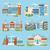 város · tájkép · szett · modern · vektor · illusztrációk - stock fotó © robuart