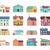 домах · набор · архитектура · дизайна · зданий · стиль - Сток-фото © robuart