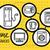 mosógép · szennyes · ikonok · vektor · ikon · gyűjtemény · kéz - stock fotó © robuart