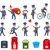 set of intersting icons with postman characters stock photo © robuart