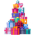 mountain of colorful gift boxes on white stock photo © robuart