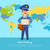world delivery banner with postman mailman in suit stock photo © robuart