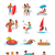 summer holidays color icons with people stock photo © robuart