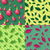 seamless patterns with leaves and christmas toys stock photo © robuart