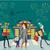 Navidad · feliz · mano · postal · alegre - foto stock © robuart