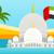 флаг · арабских · Skyline · бизнеса · пляж · небе - Сток-фото © robuart