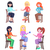 young women seating on chairs flat vector set stock photo © robuart
