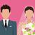 jóvenes · feliz · recién · casados · novia · novio · vector - foto stock © robuart
