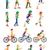 chłopca · dziewczyna · rowerowe · projektu · stylu · kolorowy - zdjęcia stock © robuart
