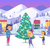 people on icerink in decorated christmas town stock photo © robuart