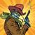 スティームパンク · ロボット · カウボーイ · 喫煙 · リボルバー · ポップアート - ストックフォト © rogistok