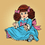 meisje · Blauw · jurk · bloem · baby · gelukkig - stockfoto © rogistok