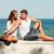 jovem · feliz · casal · mar · costa - foto stock © rosipro