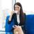幸せ · 若い女性 · 飲料 · コーヒー · 座って · 表 - ストックフォト © rosipro
