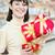feliz · mulher · vermelho · caixa · de · presente · jovem · sorridente - foto stock © rosipro