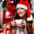 kız · içme · kahve · noel · ağacı · yılbaşı · çay - stok fotoğraf © rosshelen