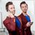 ビジネス · ブラザーズ · 双子 · 電話 · 優しい · 赤 - ストックフォト © RossHelen
