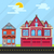set buildings house old house and fire station vector flat il stock photo © roverto
