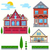 vector flat illustration set of urban and village elements stock photo © roverto