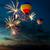 fireworks and hot air balloon at sunset stock photo © rozbyshaka
