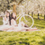 Picknick · Kirschblüten · Fahrrad · zwei · junge · Frauen · weiß - stock foto © runzelkorn
