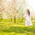 nina · flor · de · cerezo · vestido · blanco · floral · corona - foto stock © runzelkorn