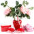 rosas · rojas · caja · de · regalo · forma · de · corazón · cinta · madera · mesa · de · madera - foto stock © ruzanna